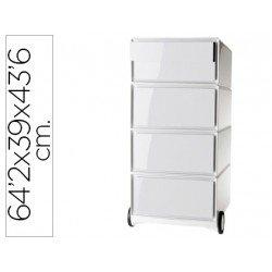 Archivador movil Paperflow poliestireno 4 cajones color blanco