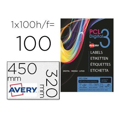 Etiqueta adhesiva marca Avery SRA3 papel telado color crema 320x450 mm para impresora digital