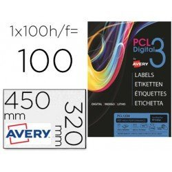 Etiqueta Adhesiva marca Avery SRA3 poliester plata 320x450mm para impresiora digital