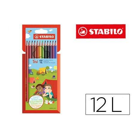 Lapices de colores marca Stabilo Trio Slim caja de 12 colores