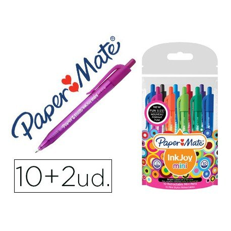 Boligrafo marca Papermate Inkjoy 100 mini retractil 0,4 mm colores surtidos Pack 10+2