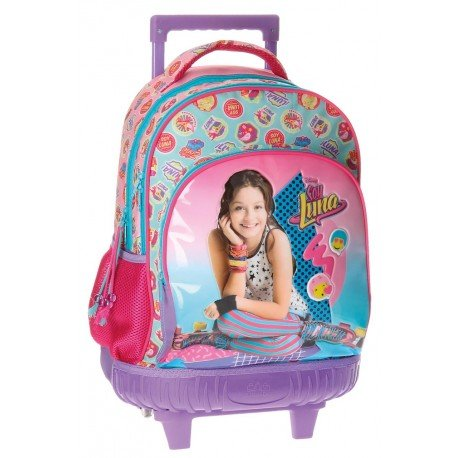 Mochila Escolar Soy Luna Con Carro 32x43x21cm Rosa
