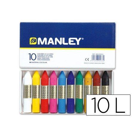 Lapices cera blanda Manley 10 unidades
