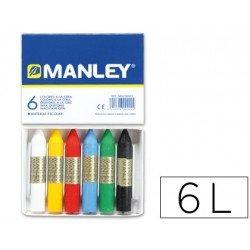 Lapices cera blanda Manley 6 unidades