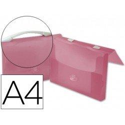 Portadocumentos Cartera Beautone A4 Broche con Asa Roja Transparente