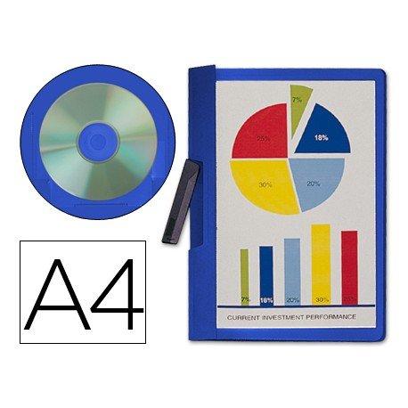 Carpeta dossier polipropileno con pinza lateral Beautone Din A4 azul