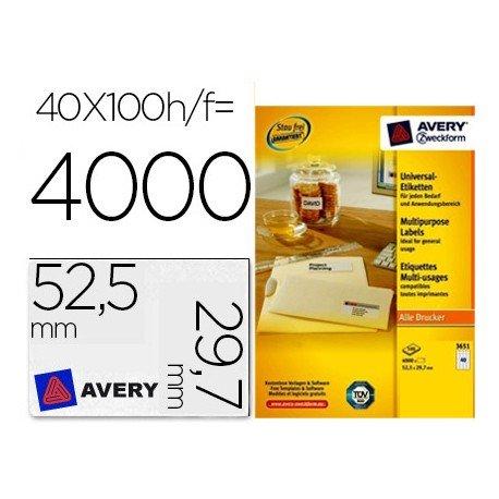 Etiqueta adhesiva marca Avery 52,5 x 29,7mm multiuso