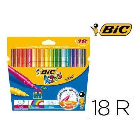 Rotulador Bic kids visa estuche de 18 colores