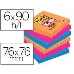Bloc Quita y Pon Post-It ® Super Sticky 76X76 mm Colores Bangkok
