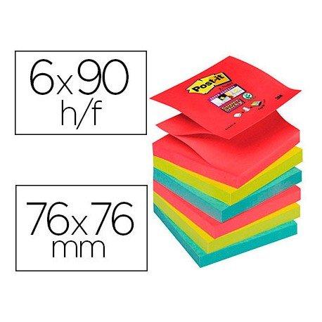 Bloc Quita y Pon Post-It ® Super Sticky Z-Notes 76X76 mm Colores Bora Bora