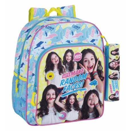 CARTERA ESCOLAR SAFTA SOY LUNA FACES MOCHILA JUNIOR ADAPTABLE A CARRO 320X380X120 MM