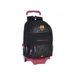 Mochila Escolar Doble F.C. Barcelona con ruedas y carro 905 32x16x42 cm Black