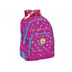 Mochila Escolar Doble Benetton Adaptable a Carro 32x15x42 cm Dots