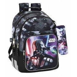 Mochila Escolar Doble Star Wars Adaptable a Carro 32x15x42 cm Saga