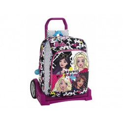 CARTERA ESCOLAR SAFTA CON CARRO BARBIE YOU CAN BE 330X150X430 MM