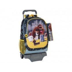 Mochila escolar Mascotas con ruedas y carro 32x16x44 cm