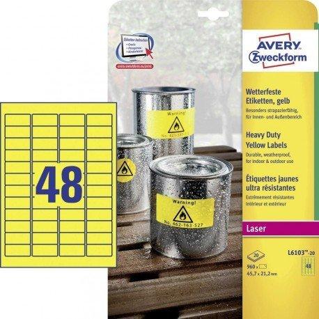 Etiqueta Adhesiva Avery 45,7x21,2 mm Poliester Color Amarillo Caja de 20 hojas