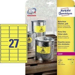 Etiqueta Adhesiva Avery 63,5x29,6 mm Poliester Amarillo Caja de 20 hojas