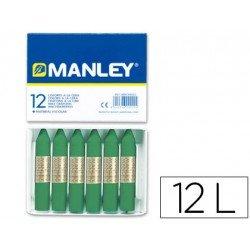 Lapices cera Manley color Verde Musgo Nº 56 Caja de 12