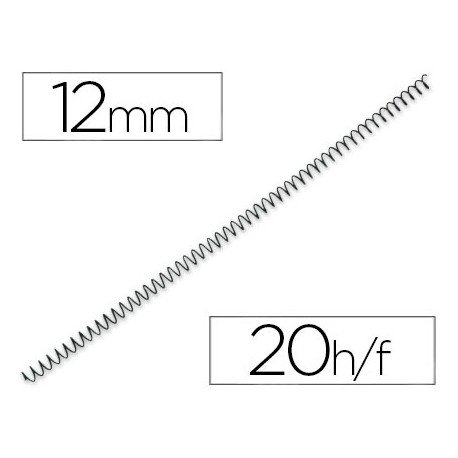 Espiral metalico fellowes 56 negro 12 mm pack de 25 espirales