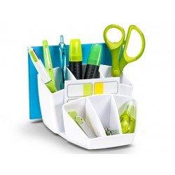 Organizador sobremesa CEP 143x158x93 mm 8 Compartimentos Plástico color Blanco