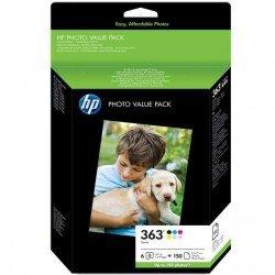 Pack fotografico 6 cartuchos HP 363 Multicolor + 150 Hojas 10x15 cm referencia Q7966EE