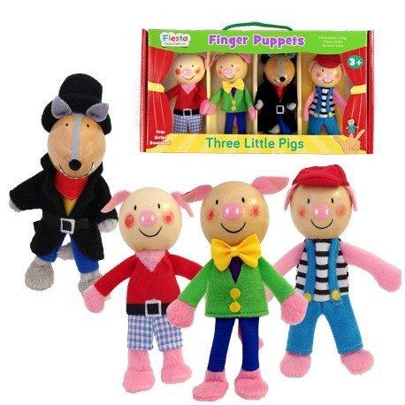 Marioneta de dedo Personajes Tres Cerditos partir de 3 años marca Fiesta Crafts