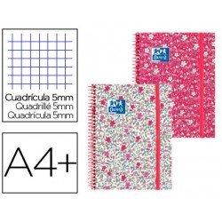 Cuaderno Oxford Ebook 1 DIN A4+ Floral Tapa Extradura con gomilla Cuadricula 5 mm