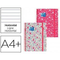 Cuaderno Oxford Ebook 1 DIN A4+ Floral Tapa Extradura con gomilla Rayado Horizontal