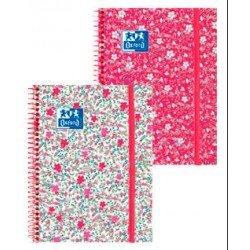 Cuaderno Oxford Ebook 1 DIN A5+ Floral Tapa Extradura con gomilla Rayado Horizontal