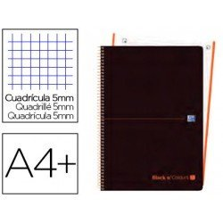 CUADERNO ESPIRAL OXFORD EBOOK 1 TAPA PLASTICO DIN A4+ 80 H CUADRICULA 5 MM BLACK'N COLORS NARANJA