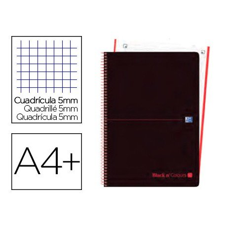 CUADERNO ESPIRAL OXFORD EBOOK 4 TAPA EXTRADURA DIN A4+ 120 H CUADRICULA 5 MM BLACK'N COLORS ROJO