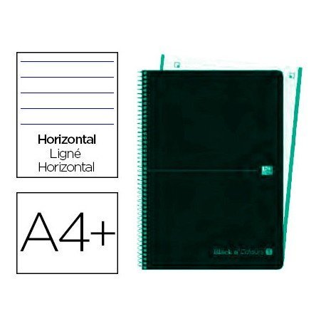 CUADERNO ESPIRAL OXFORD EBOOK 4 TAPA PLASTICO DIN A4+ 120 H HORIZONTAL BLACK'N COLORS ICE MINT
