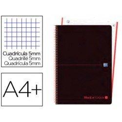 Cuaderno Oxford Ebook 4 DIN A4+ Negro y Naranja Tapa Plastico Rayado Horizontal