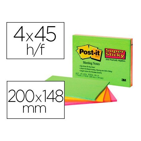 BLOC DE NOTAS ADHESIVAS QUITA Y PON POST-IT SUPER STICKY 200X149 MM 45 HOJAS PACK DE 4 BLOC COLORES SURTIDOS