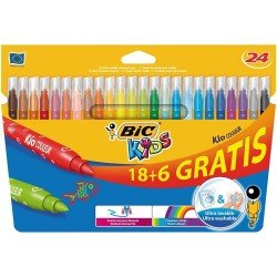 Rotuladores Bic Kids Color Punta media Tinta a base de agua y lavable Caja de 24 colores