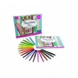 Rotuladores Paper Mate Flair Punta de Fibra Caja de 20 unidades con Cuaderno para Colorear
