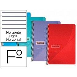 Cuaderno espiral Papercop Tamaño Folio Rayado Horizontal 90 gr Colores surtidos