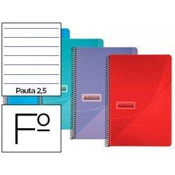 Cuaderno espiral Papercop Tamaño Folio Rayado Pauta 2,5 mm 90 gr 80 hojas Colores surtidos