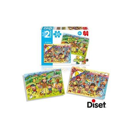 Puzzle en la playa y de excursion a partir de 4 años 2x20 piezas Diset