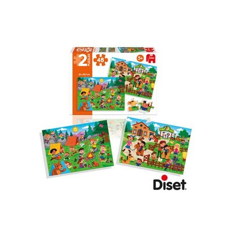 Puzzle montando a caballo y de picnic a partir de 5 años 2x48 piezas Diset