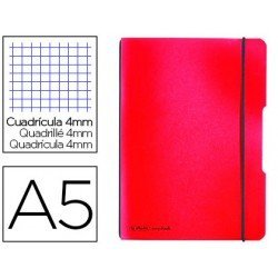 Cuaderno Herlitz Flex DIN A5 Tapa Plastico con gomilla Cuadricula 4 mm color Rojo