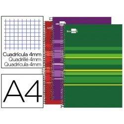 Cuaderno Liderpapel Micro Classic DIN A4 Tapa Forrada Cuadricula 4 mm colores surtidos