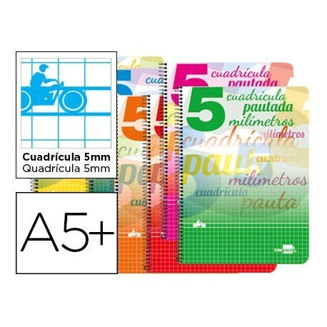 Bloc espiral marca liderpapel cuarto pautaguia tapa cartoncillo 40h80 g cuadriculado pautado 5 mm colores surtidos