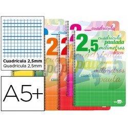 Bloc espiral marca liderpapel cuarto pautaguia tapa cartoncillo 40h80g cuadriculado pautado 2,5mmcon margen colores surtidos