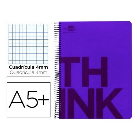 Bloc Cuarto marca Liderpapel serie Think cuadricula 4 mm violeta