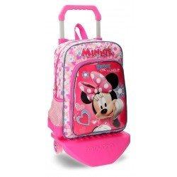 Mochila Minnie Mouse Microfibra 29x38x12 cm Fabulous Rosa con ruedas