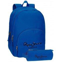 Mochila Pepe Jeans Poliéster 42,5x30,5x15 cm Harlow Azul + estuche escolar
