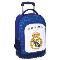 Maleta juvenil 50x32x21 cm Blanda 2 ruedas Real Madrid Champions Compac Blanca