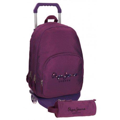 Mochila Pepe Jeans Poliéster 42,5x30,5x15 cm Harlow Violeta con ruedas + estuche escolar